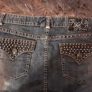 Rock and roll cowgirl studded denim skirt size 33